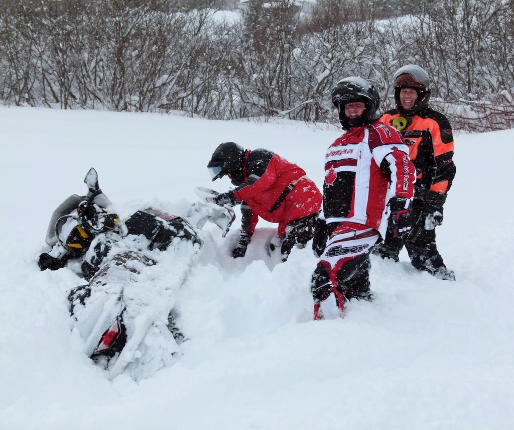 Don't get a stuck snowmobile like this!