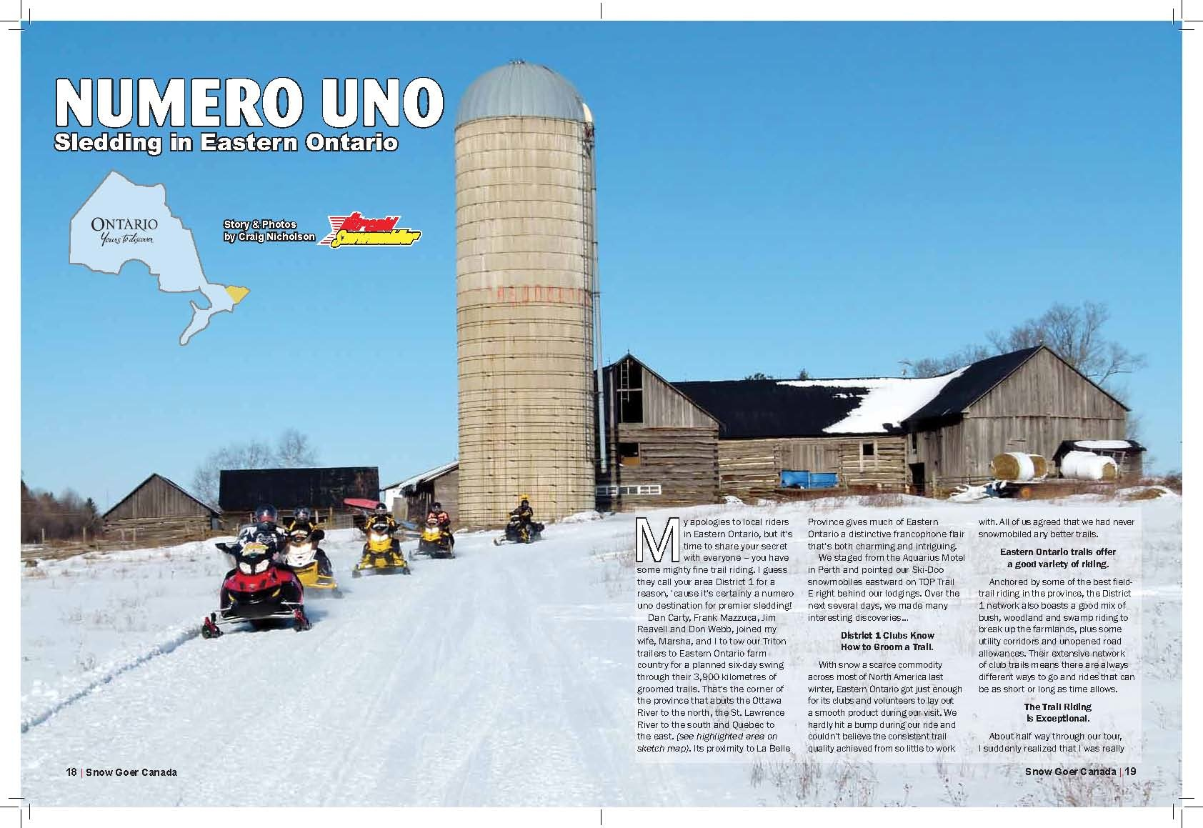 Eastern Ontario Ski Doo tour article