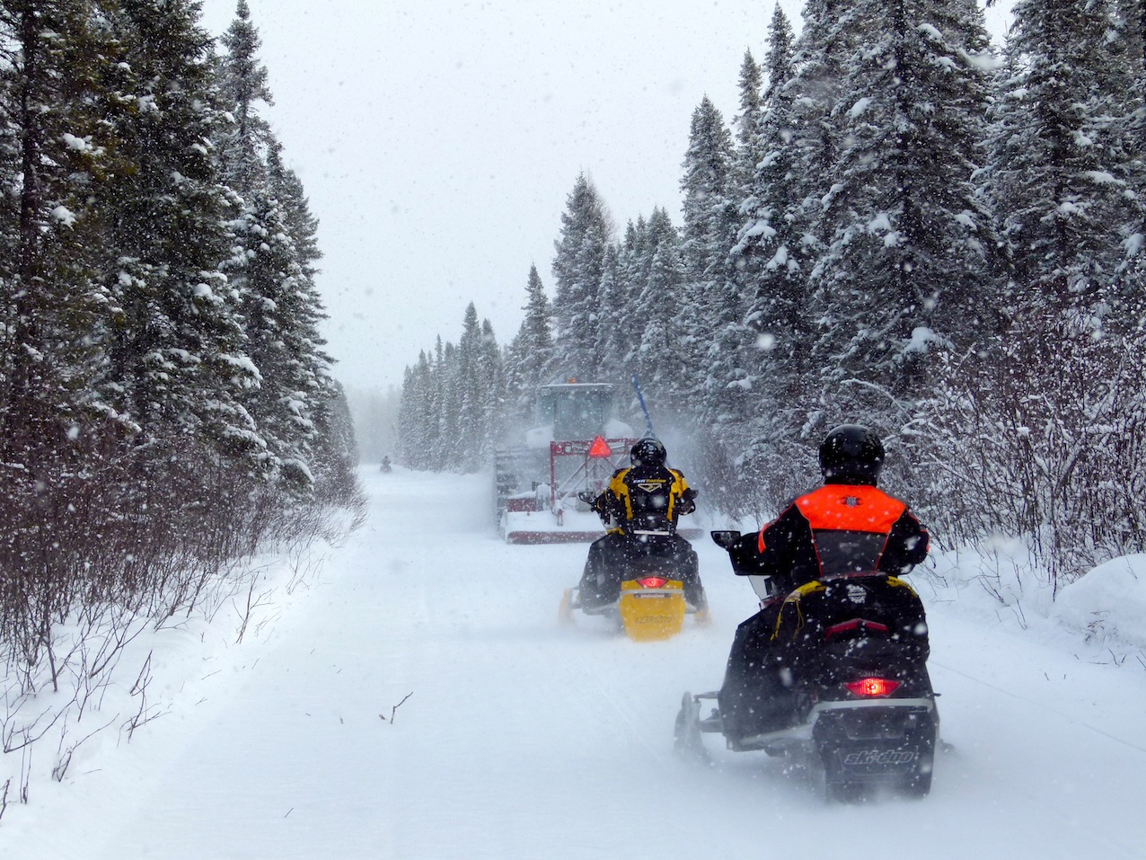 Riding frequently groomed trails in the Northern Corridor snowmobiling