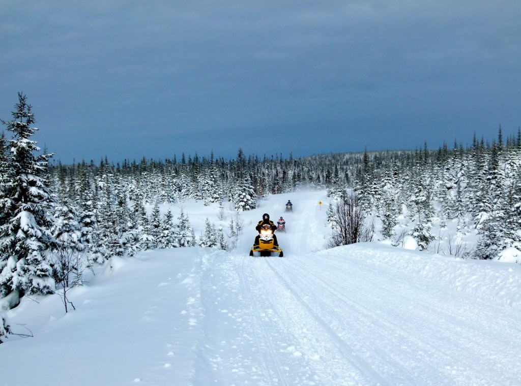 Riding Plenty of snow at Monts Valin Quebec