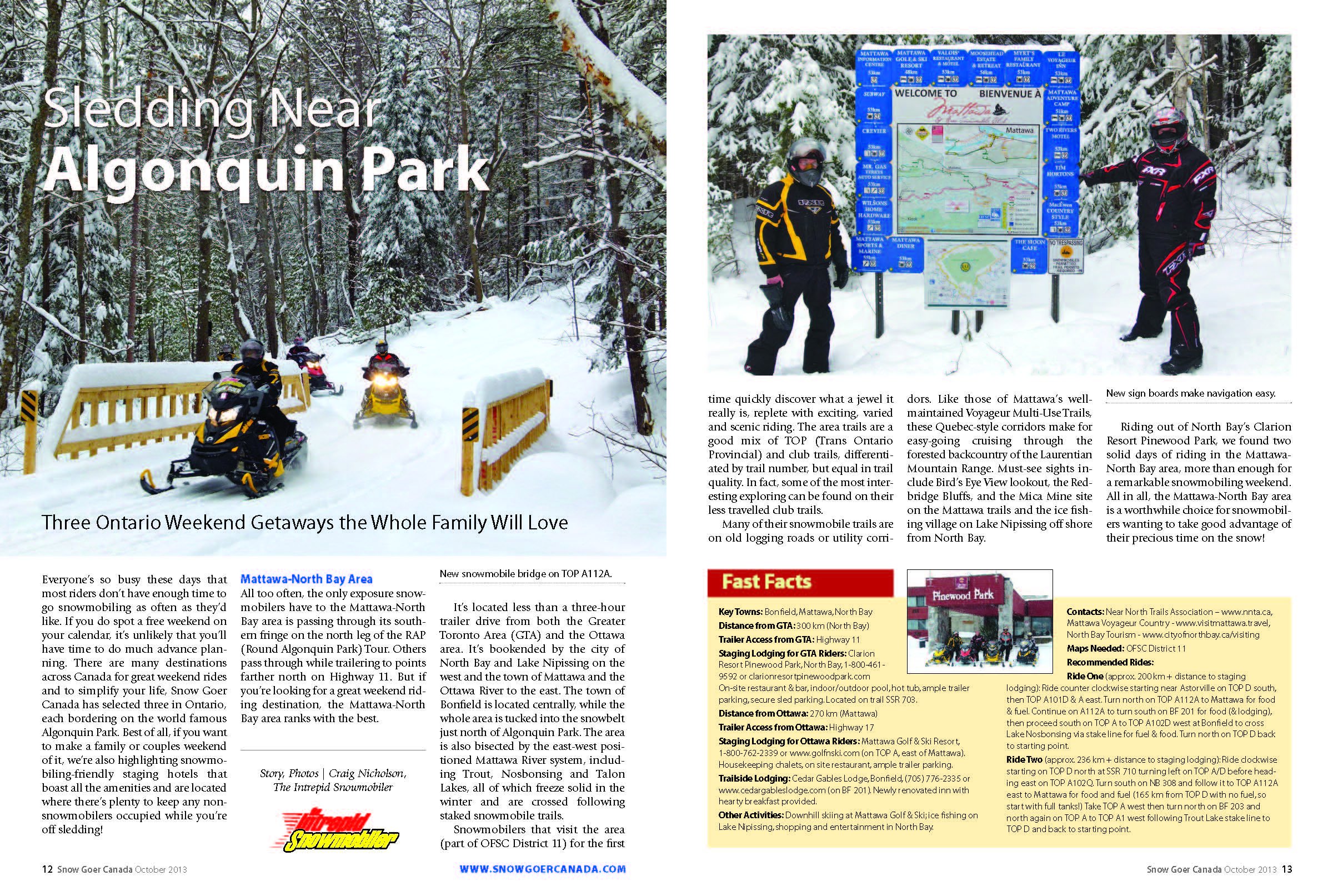 Snowmobiling Near Algonquin Park article