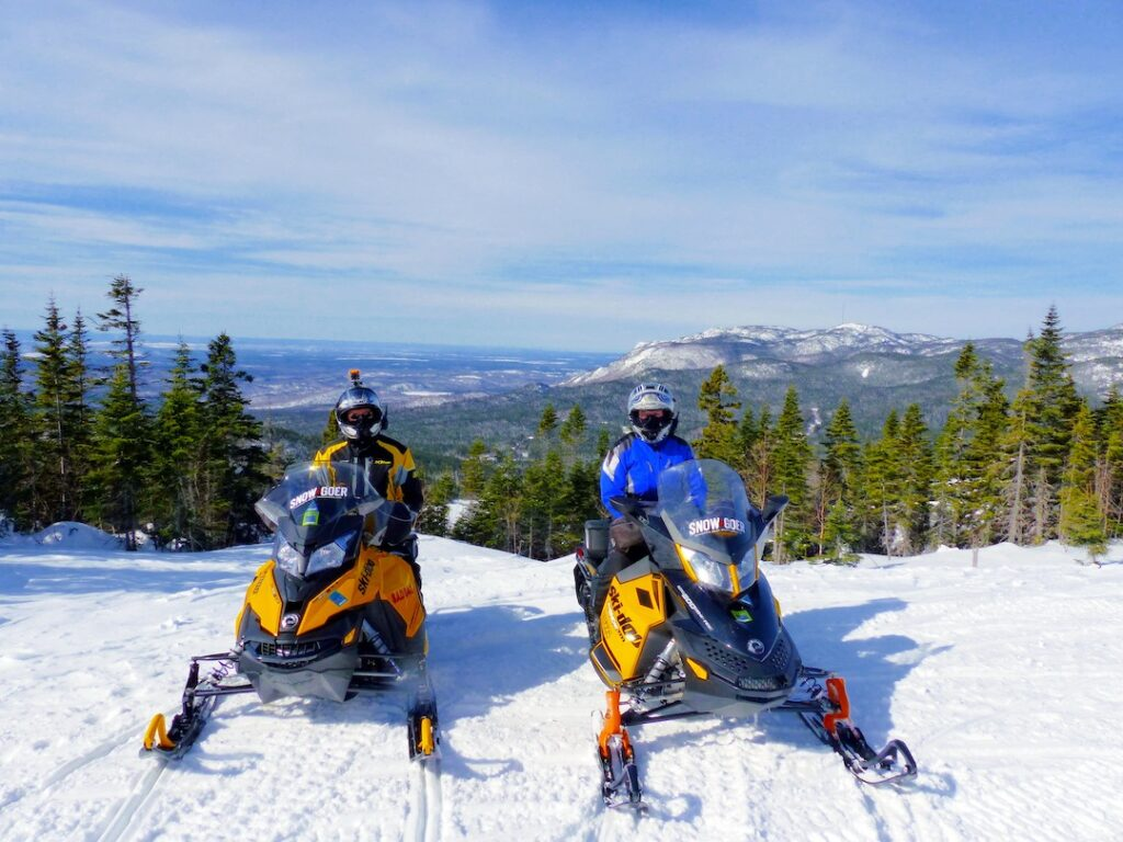 View from snowmobile go Saguenay Summit circuit