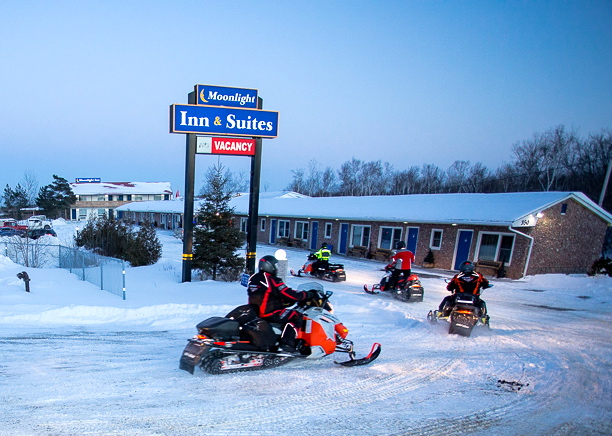 Snowmobiling into Moonlight Inn Sudbury