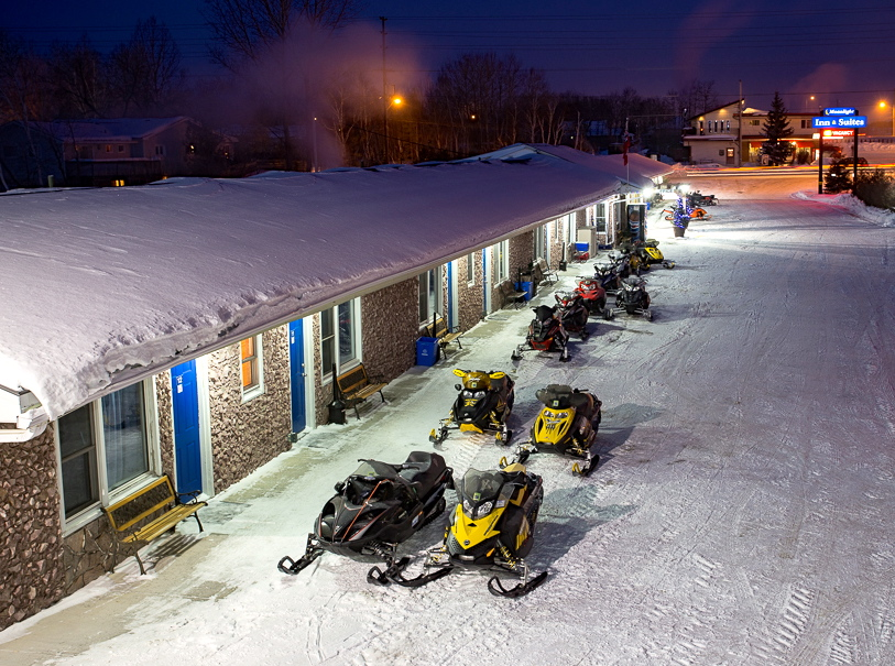 Sleds parked at Moonlight Inn Sudbury
