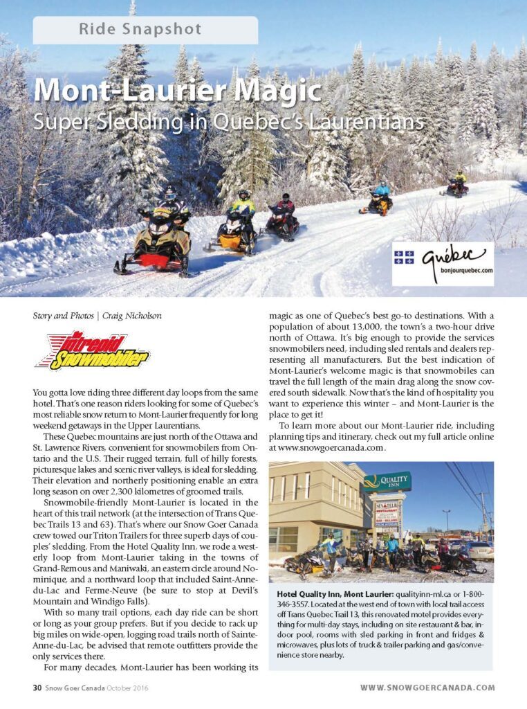 Snowmobile magazine article about Mont Laurier Quebec