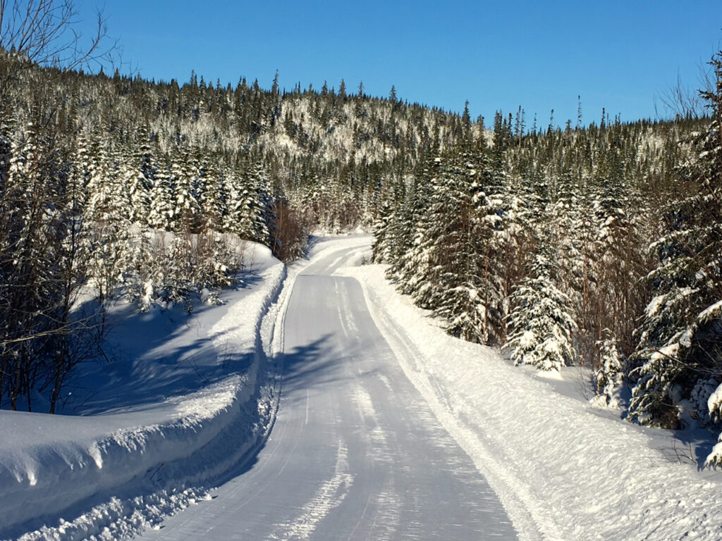groomed snowmobile trail