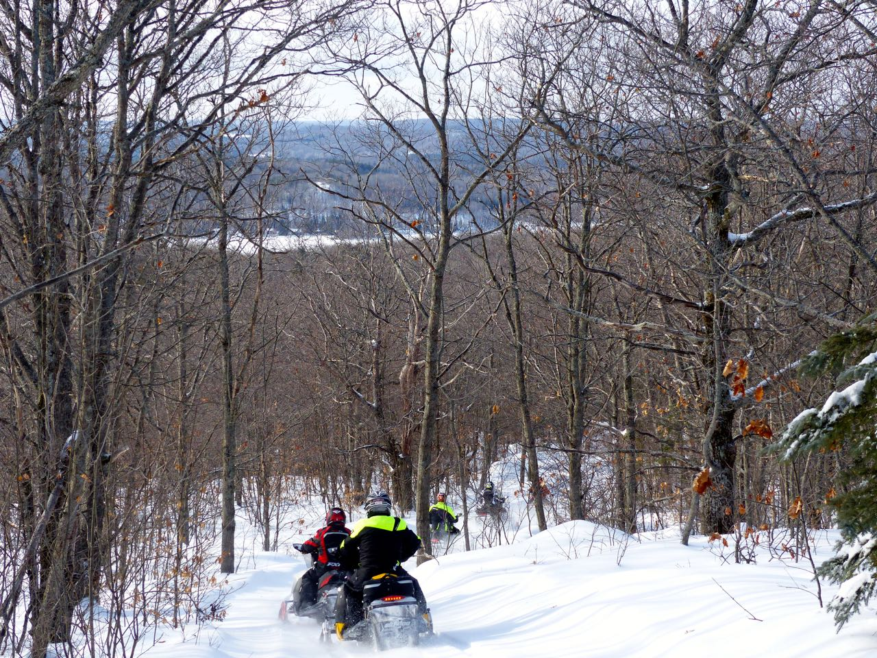 Ski doo riders on OFSC trail in Ontario's Highlands near barry's bay