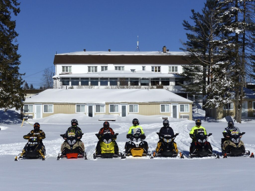 Sundridge Ontario snowmobile at Caswell Resort on Bernard Lake