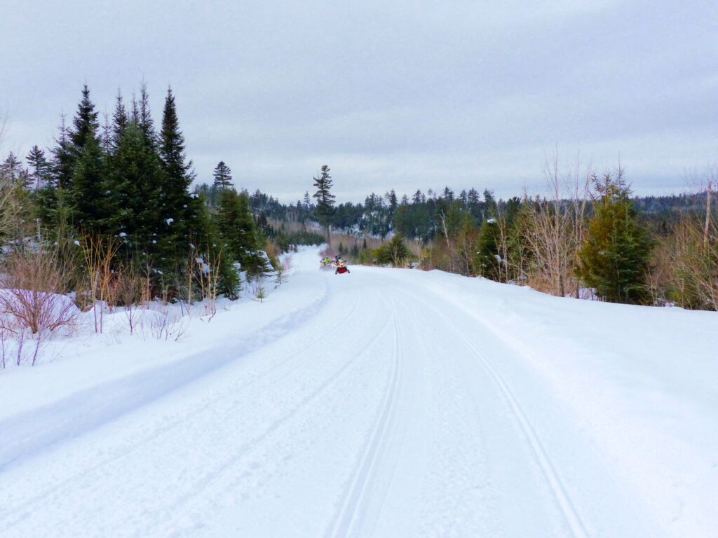 Super highway like trail in Algoma North Region of Ontario snowmobile tour destinations