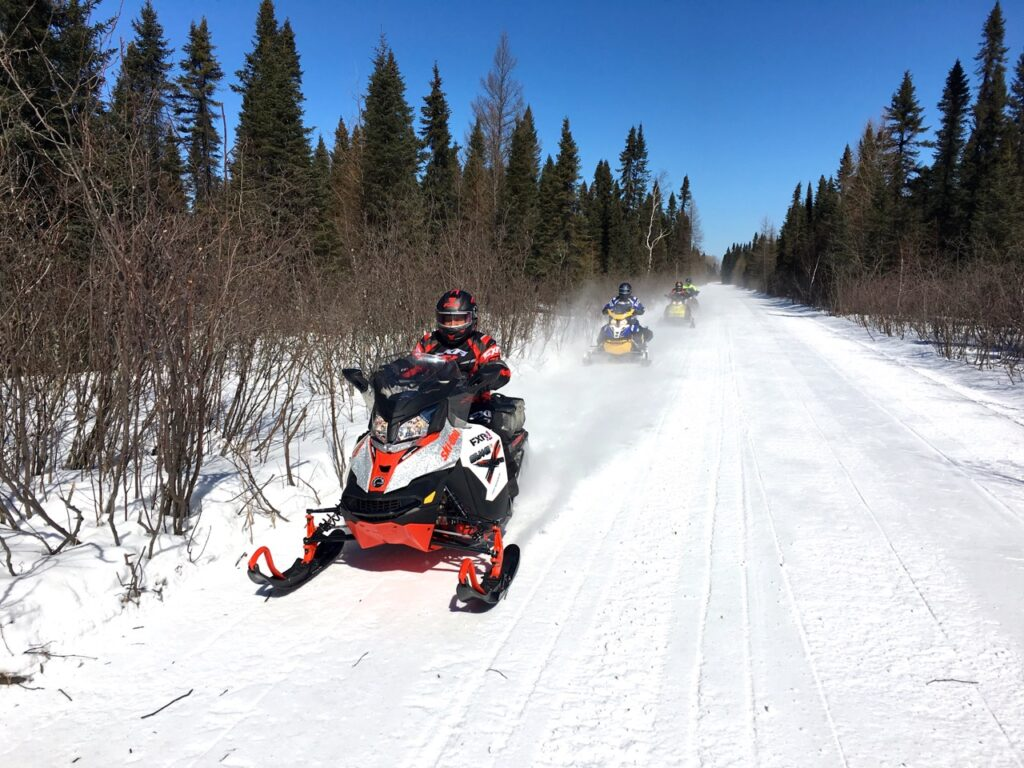 wide open trails while Cochrane Ontario snowmobiling