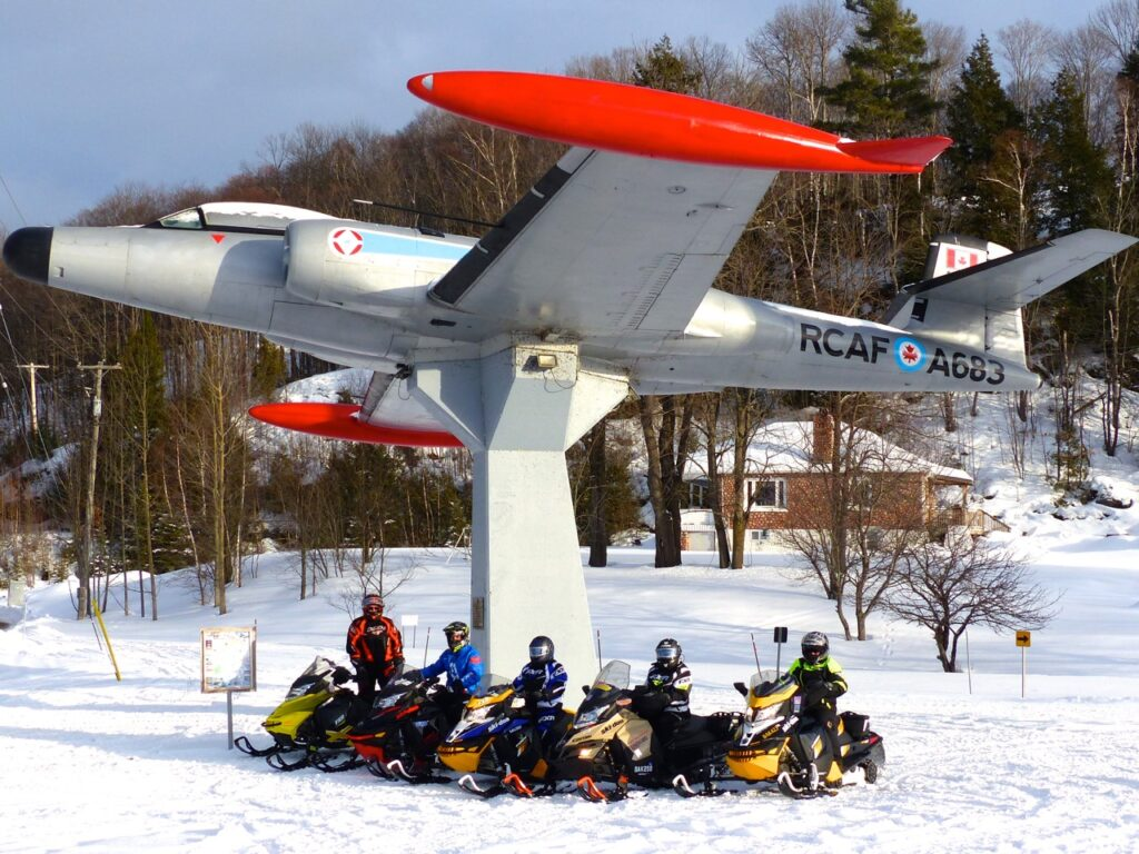 WWII plane is landmark at one of the best snowmobiling hubs near golden horseshoe
