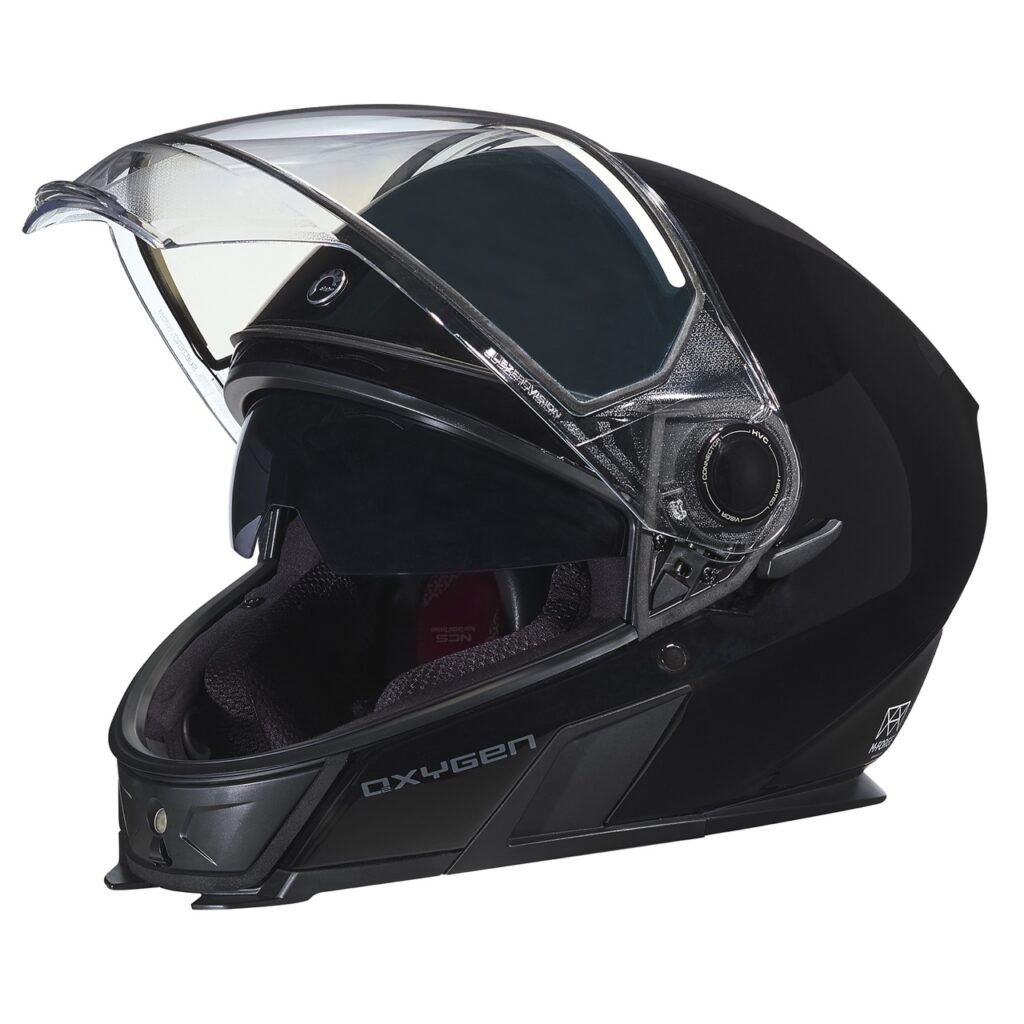 oxygen snowmobile helmet side view with visor raised