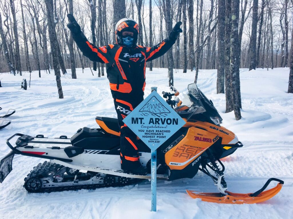 At Mt Arvon, snowmobile Michigan Upper Peninsula
