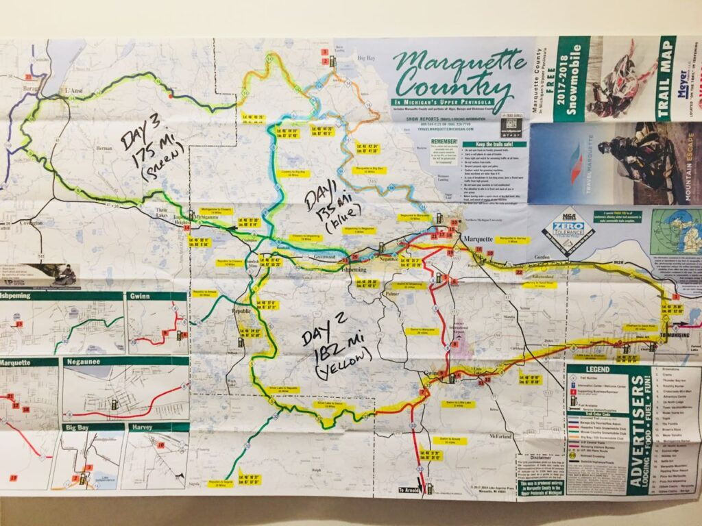Marquette County trail map to Snowmobile Michigan Upper Peninsula