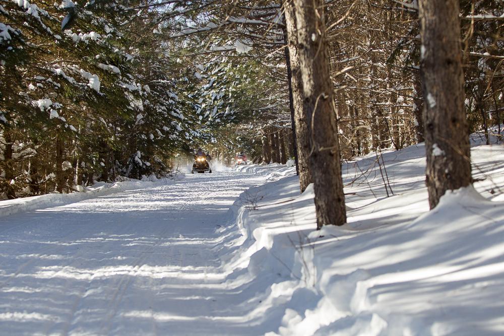 Sudbury Snowmobiling Snapshot photo shows Rainbow Elk Loop trail