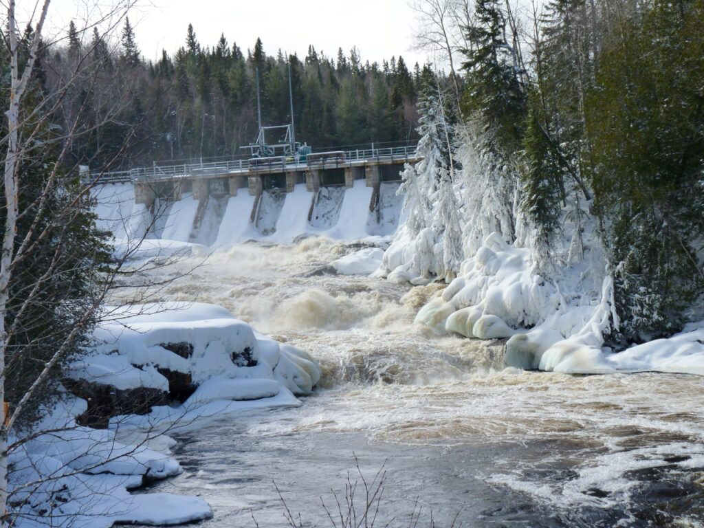 Sudbury Snowmobiling Snapshot shows Onaping River Falls