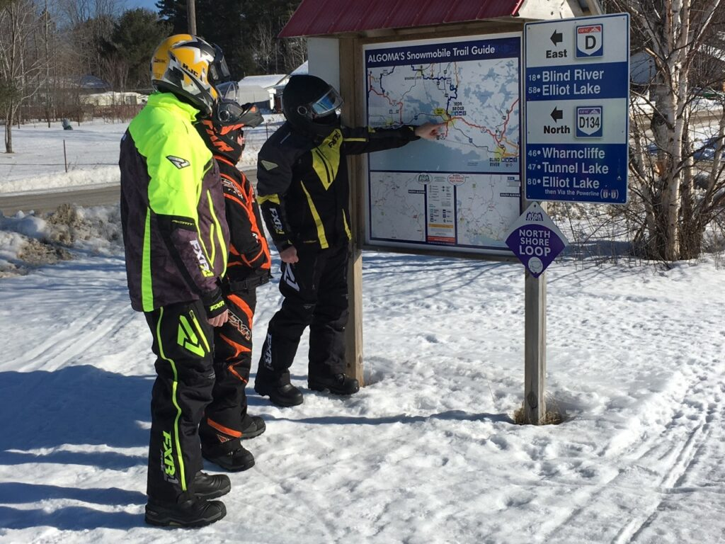 Map boards are effective Snowmobile trail signs if they have a You Are Here sticker