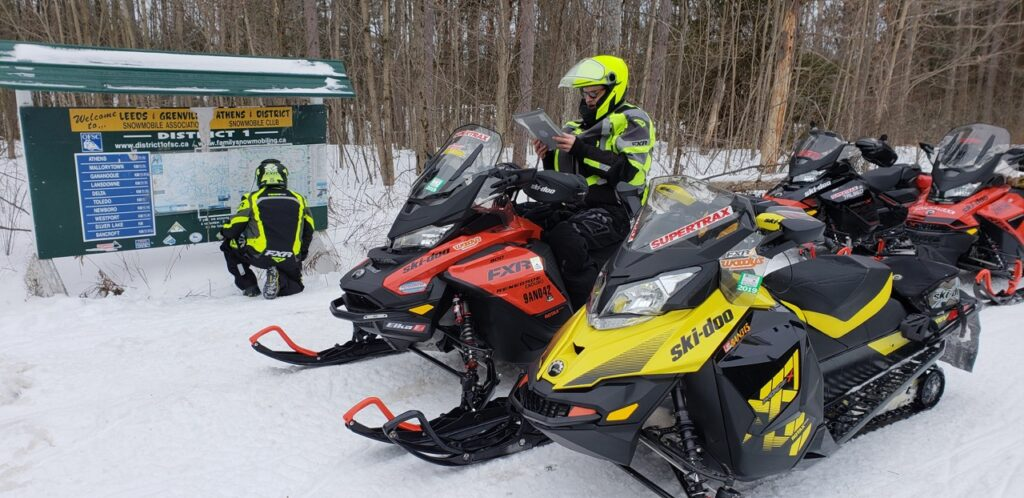 Intersection map boards enable riders to snowmobile Smiths Falls easily