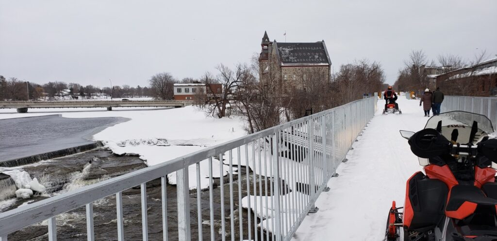 To snowmobile Smiths Falls area, riders cross many trail bridges like this one in Almonte