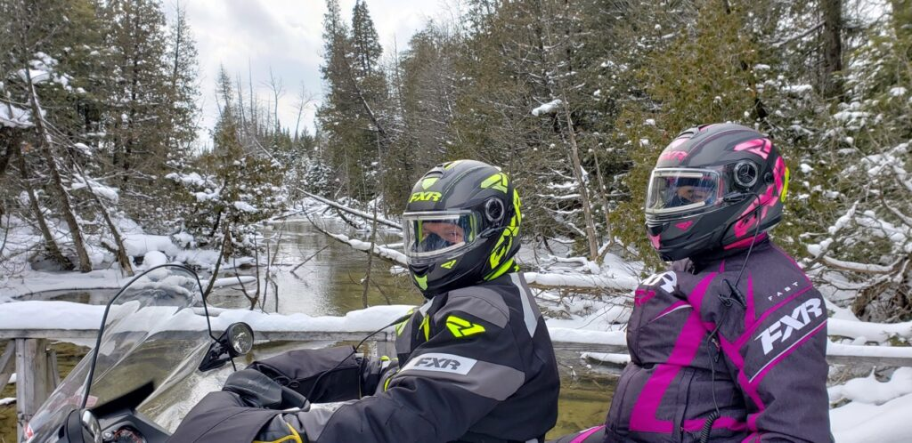 Snowmobile Midwestern Ontario scenic bridge crossing