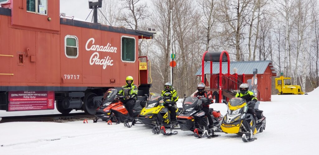 Snowmobile Smiths Falls ride on TOP Trail E near Sharbot Lake.