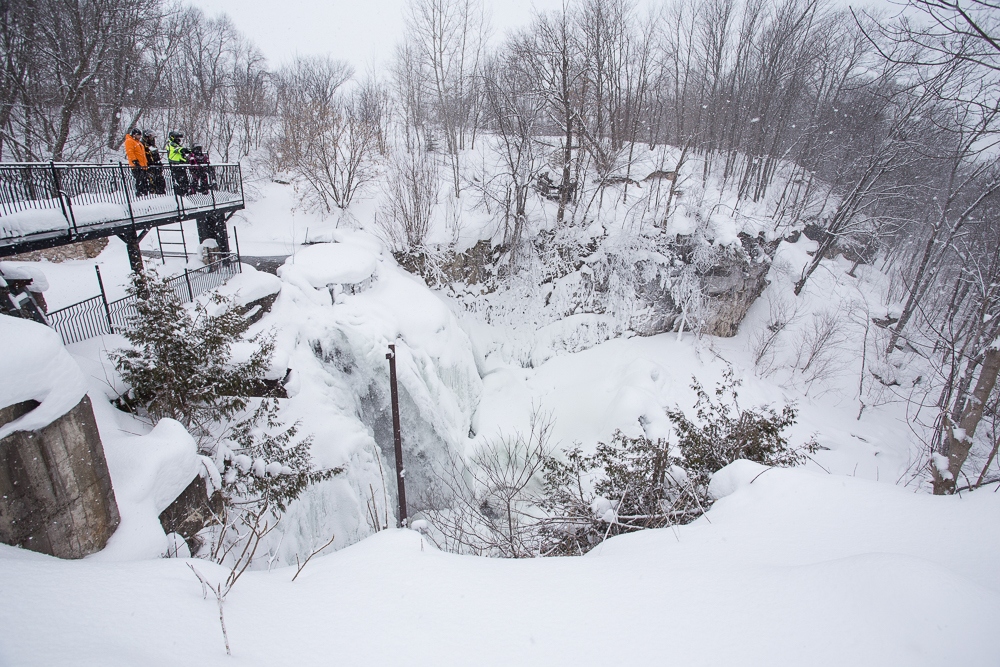 Lookout over Walter's Falls to snowmobile Midwestern Ontario