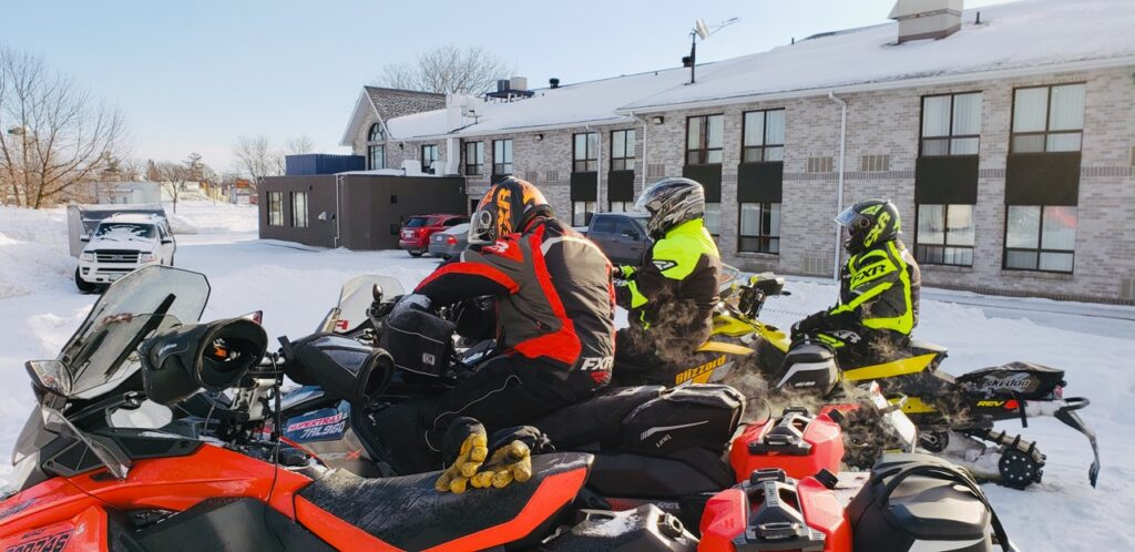 Staging from the back of the Best Western hotel to snowmobile Smiths Falls