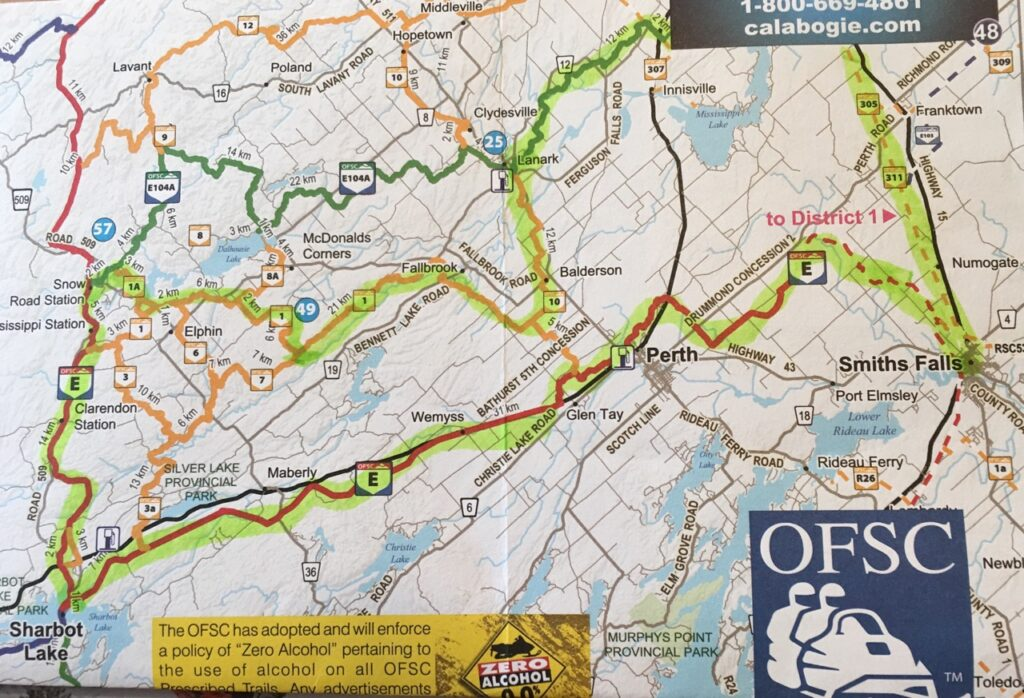 Yellow highlight shows route to snowmobile Smiths Falls westward