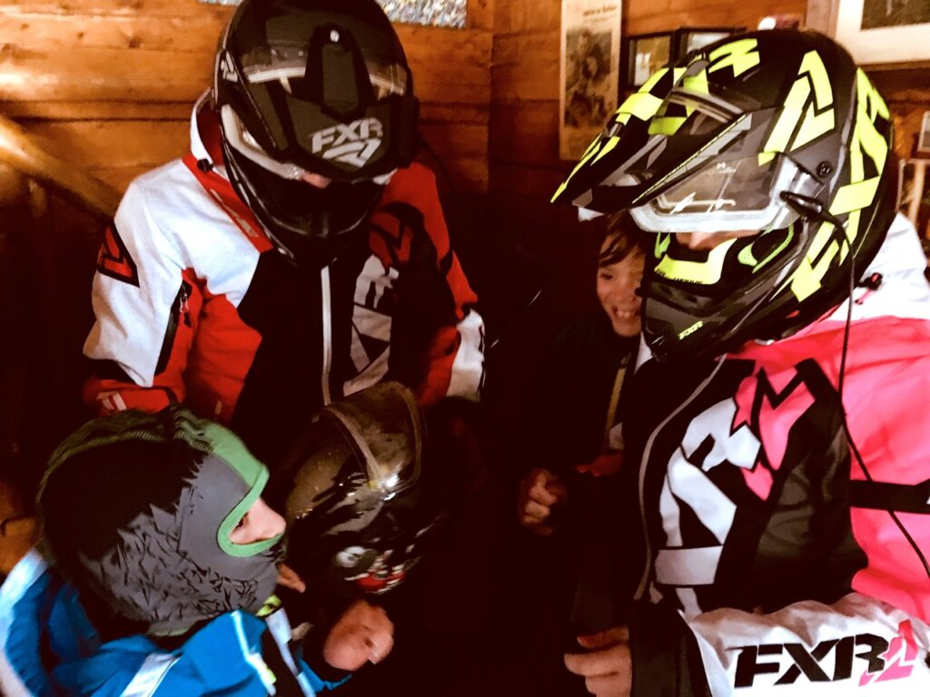 Getting the kids dressed for Christmas snowmobiling in Lanaudière Quebec