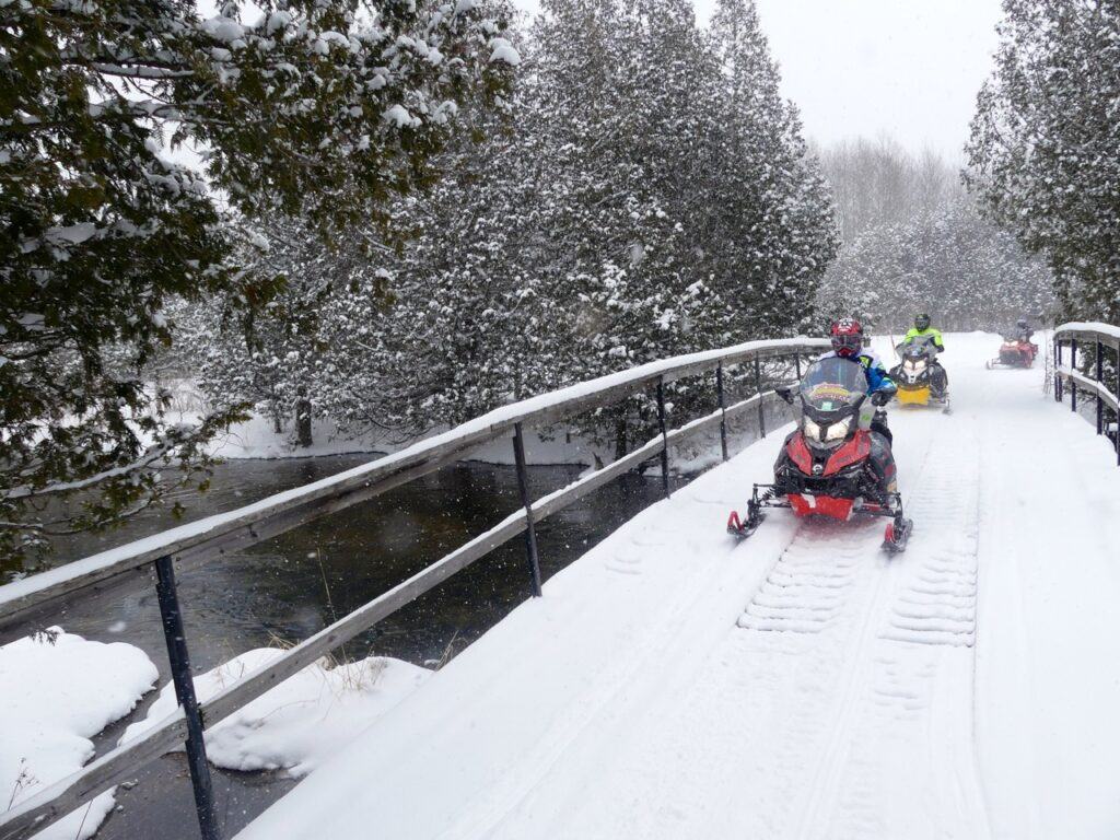 Bridge crossing make it easy to snowmobile Midwestern Ontario