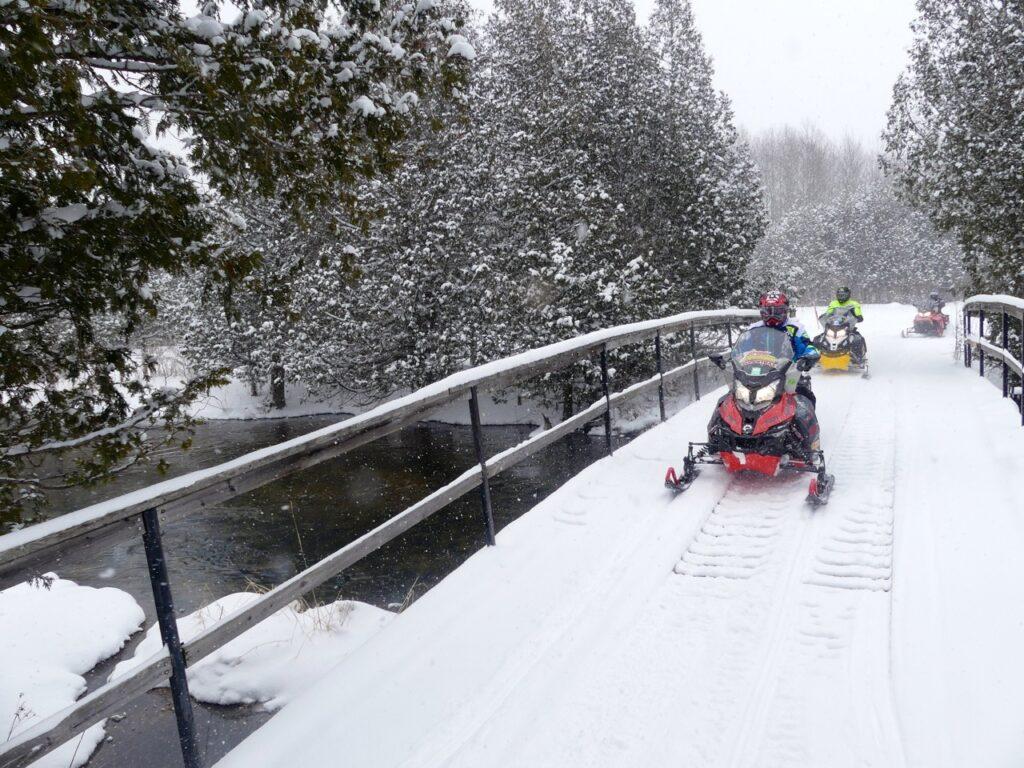 Bridge crossing make it easy to snowmobile Midwestern Ontario