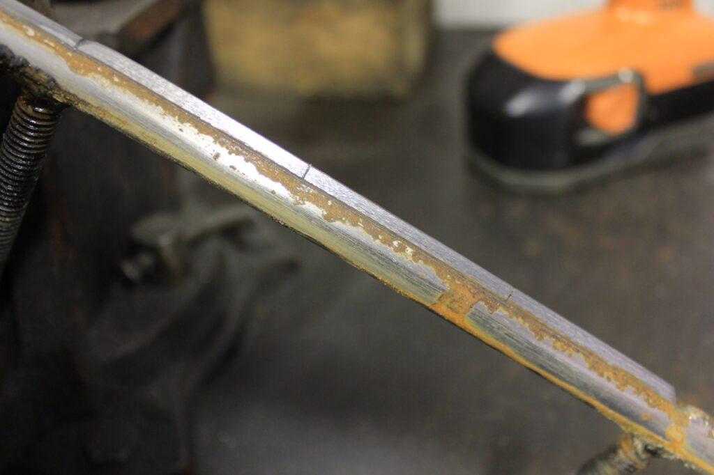 Edge fully restored by BiteHarder carbide sharpening tool