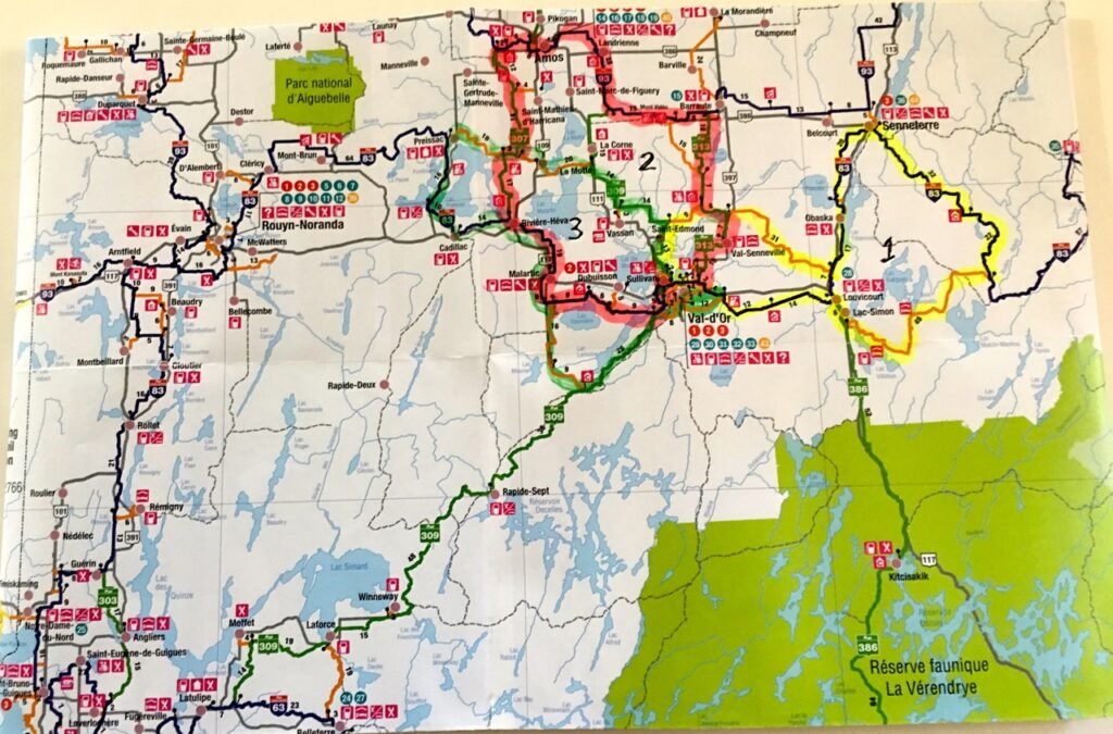 Paper trail map makes navigating Abitibi-Témiscamingue day loops easy.