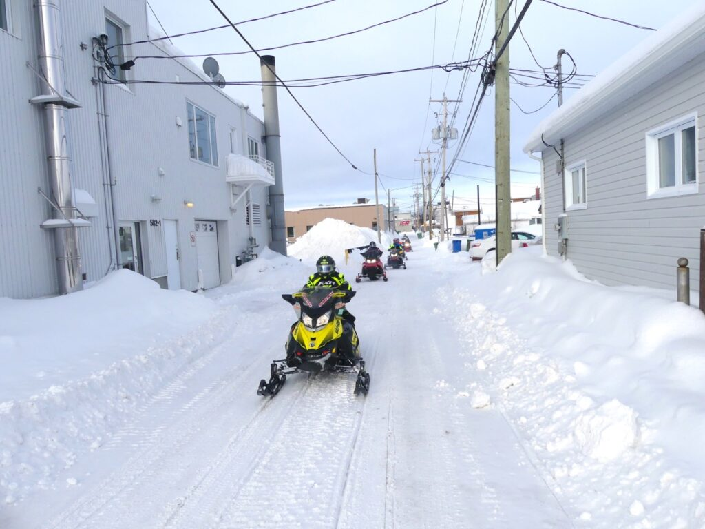 Snowmobile-friendly Val d'Or allows snowmobile access thru downtown.