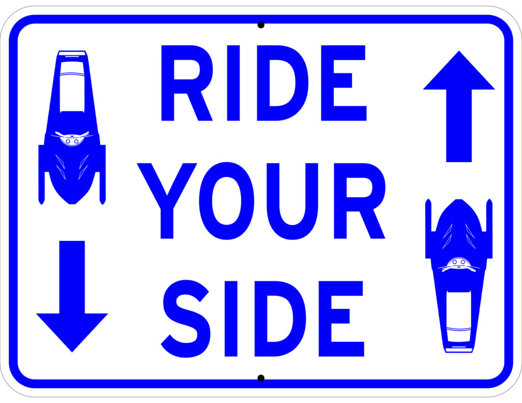 Final sign version clearly delivers the Ride Your Side message with both text and graphic.
