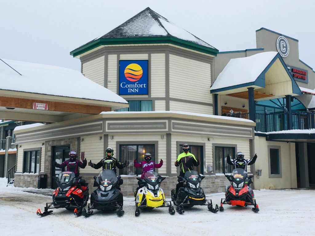 Sleds in front of our Comfort Inn staging hotel.