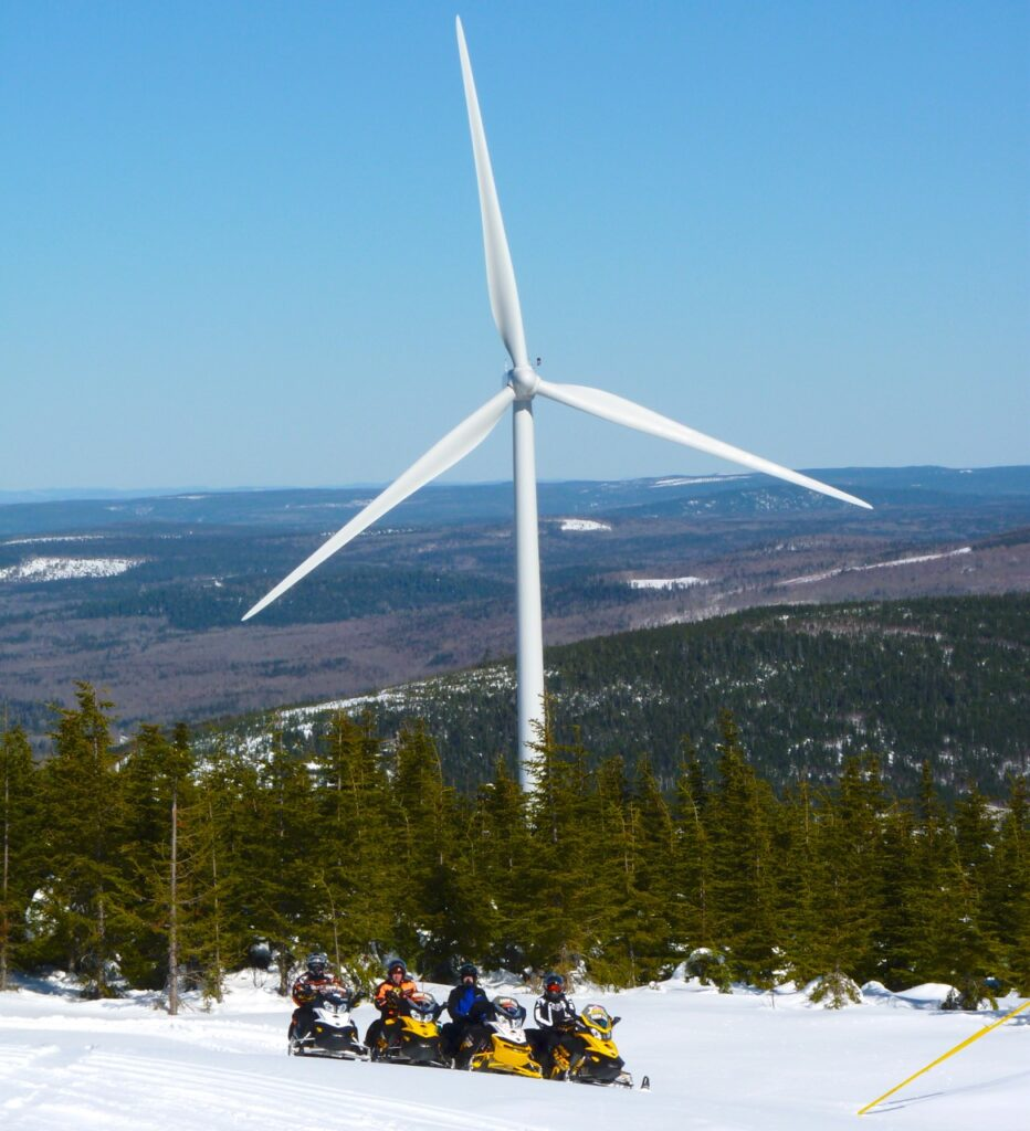 Snowmobile trails beside wind turbines in Mont Laurier snowmobiling