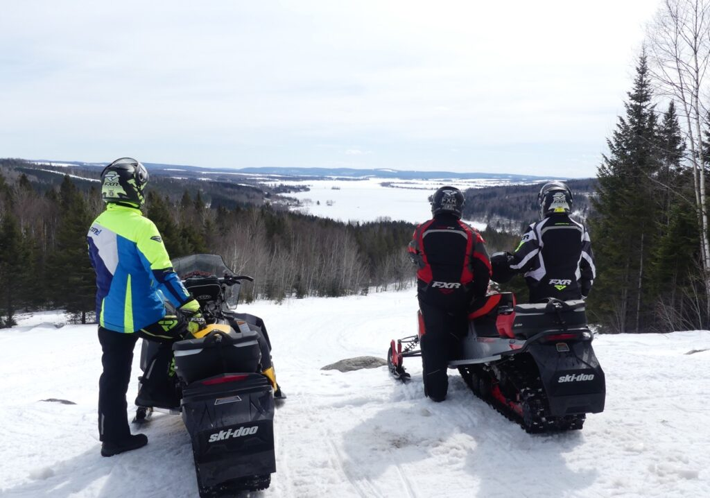 Snowmobiling Northern Maine offers a variety of great scenery like the Long Lake lookout.