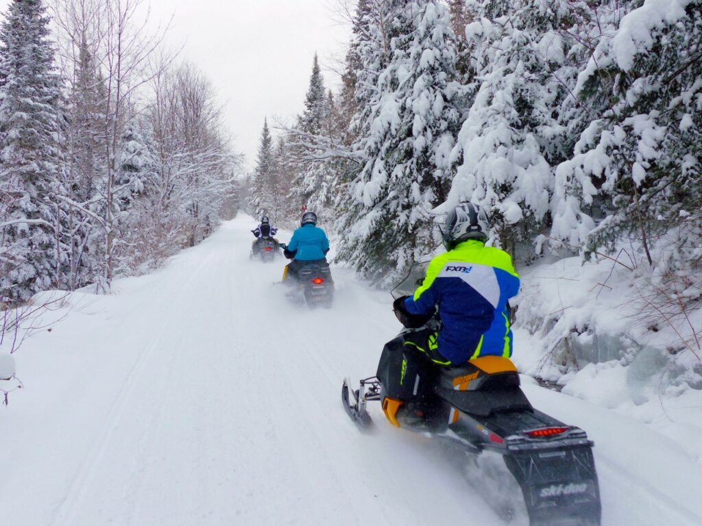 Abandoned rail lines make up part of the trail system for Mont Laurier snowmobiling