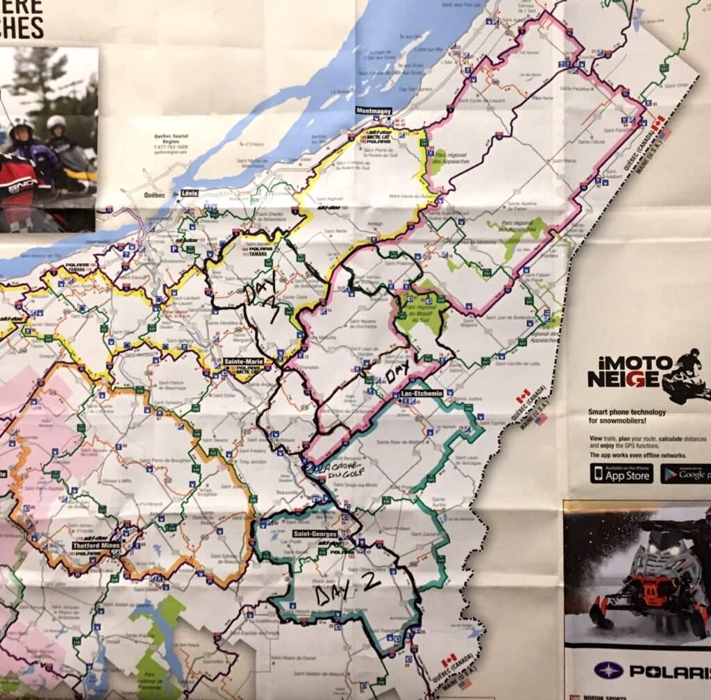 Trail map is crucial as a Chaudière Appalaches snowmobile planner.
